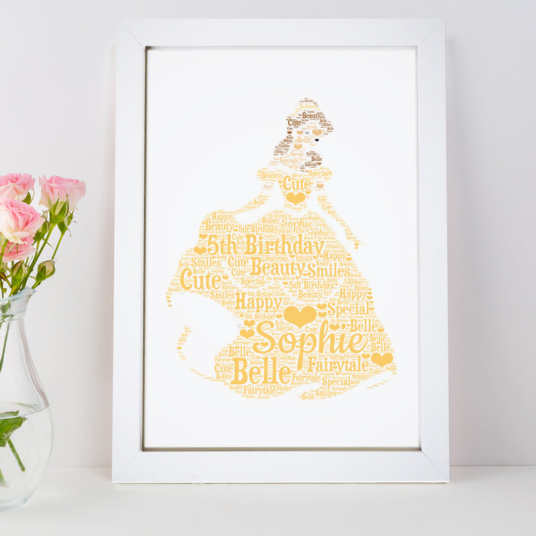Personalised Princess Belle Word Art Print