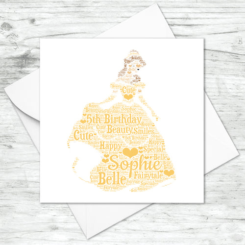 Personalised Princess Belle Word Art Card