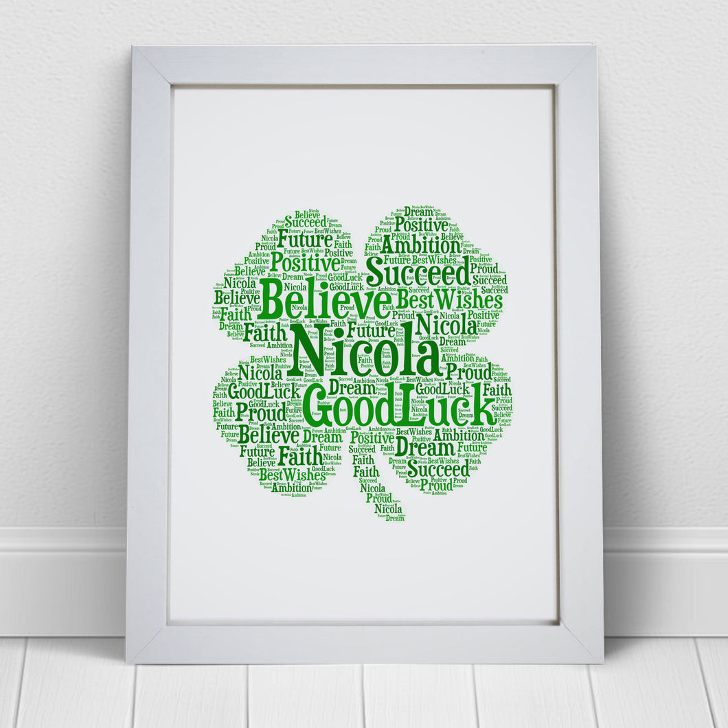 Personalised Shamrock Word Art Print