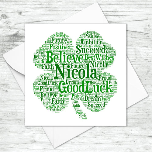 Personalised Shamrock Word Art Card