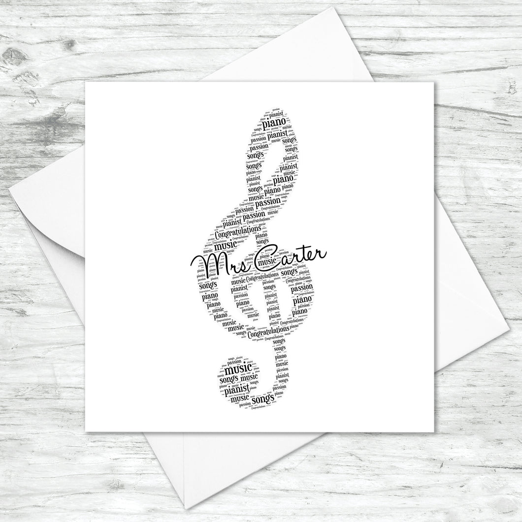 Personalised Treble Clef Musical Note Word Art Card