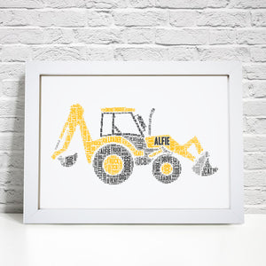 Personalised Digger Word Art Print