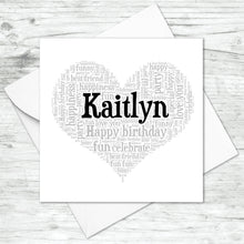 Personalised Name Heart Birthday Word Art Card