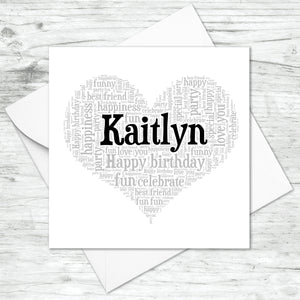 Personalised Name Heart Birthday Word Art Print