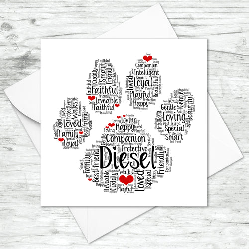 Personalised Cat Dog Animal Word Art Card