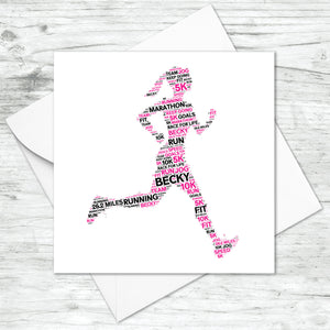 Personalised Female Runner Word Art Card