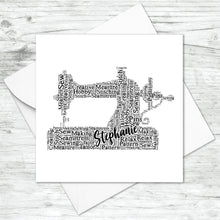 Personalised Sewing Machine Word Art Card