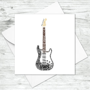 Personalised Electric Guitar Word Art Card
