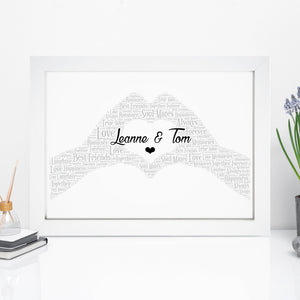 Personalised Love Heart Hands Word Art Print