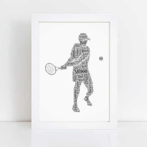 Personalised Male Tennis Player Word Art Print