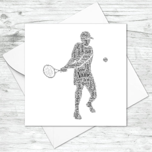 Personalised Male Tennis Player Word Art Card