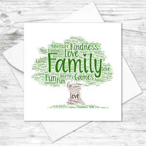 Personalised Family Tree Word Art Card