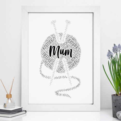 Personalised Knitting Word Art Print