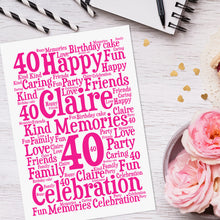 Personalised Birthday Word Art Print
