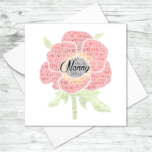 Personalised Poppy Flower Word Art Card