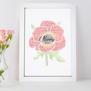 Personalised Poppy Flower Word Art Print