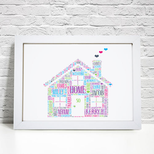 Personalised Family House Word Art Print