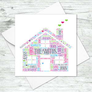 Personalised Family House Word Art Card