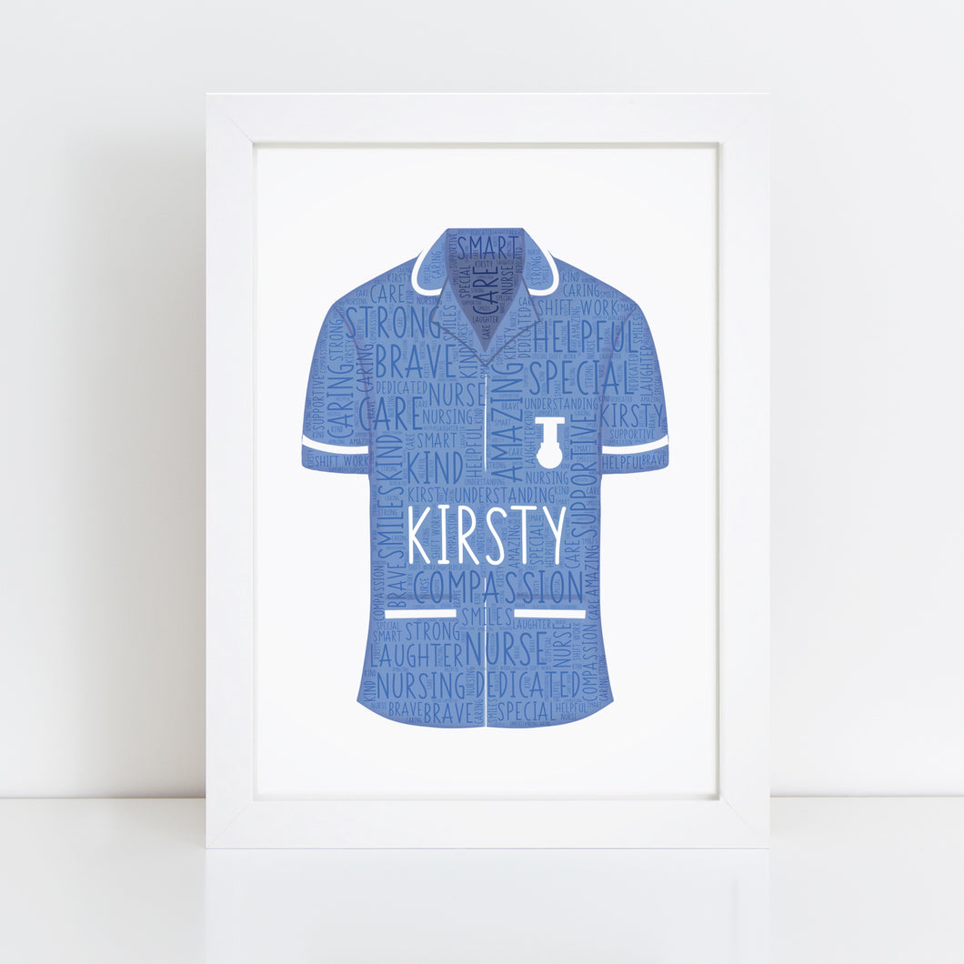 Personalised Nurse Word Art Print