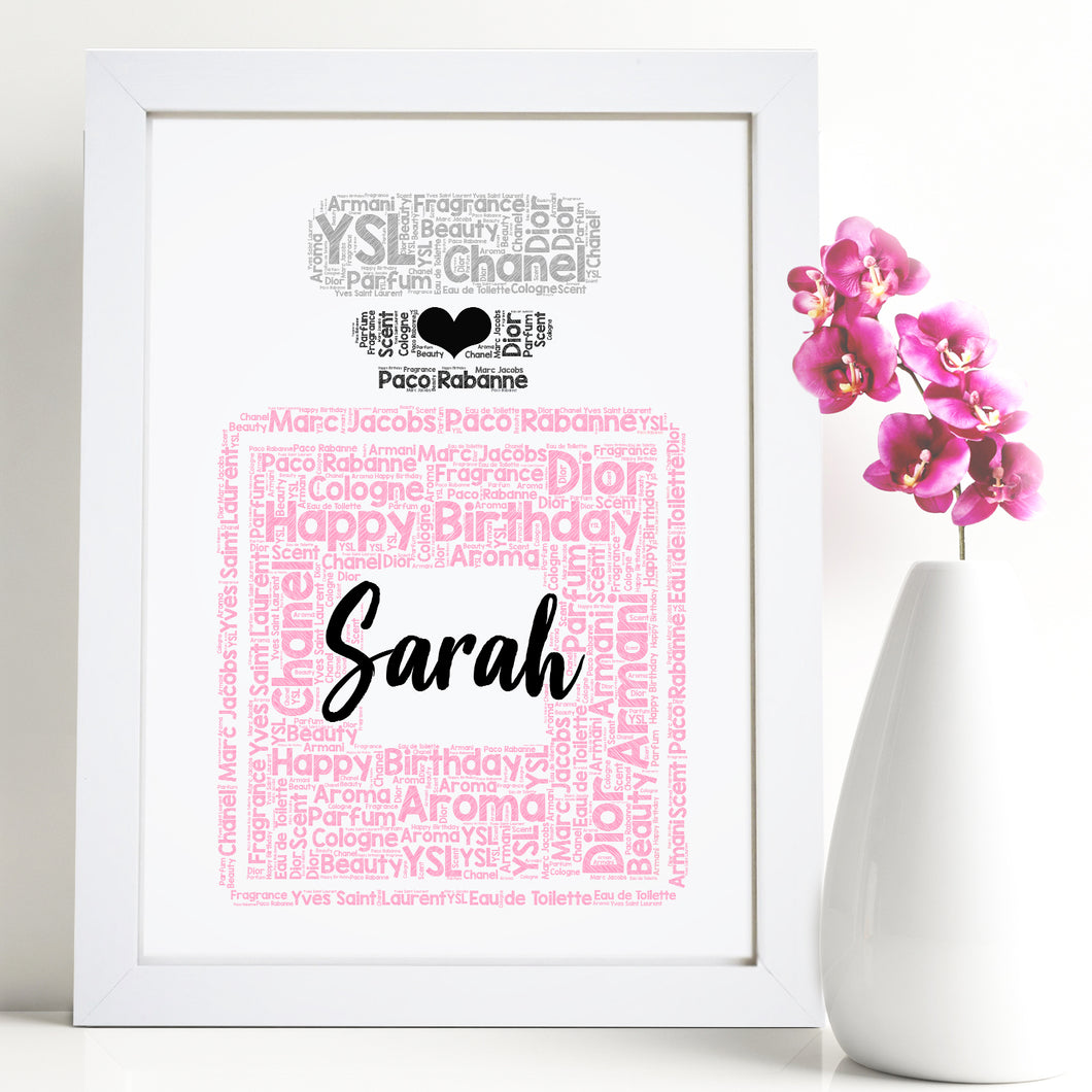 Personalised Perfume Bottle Word Art Print