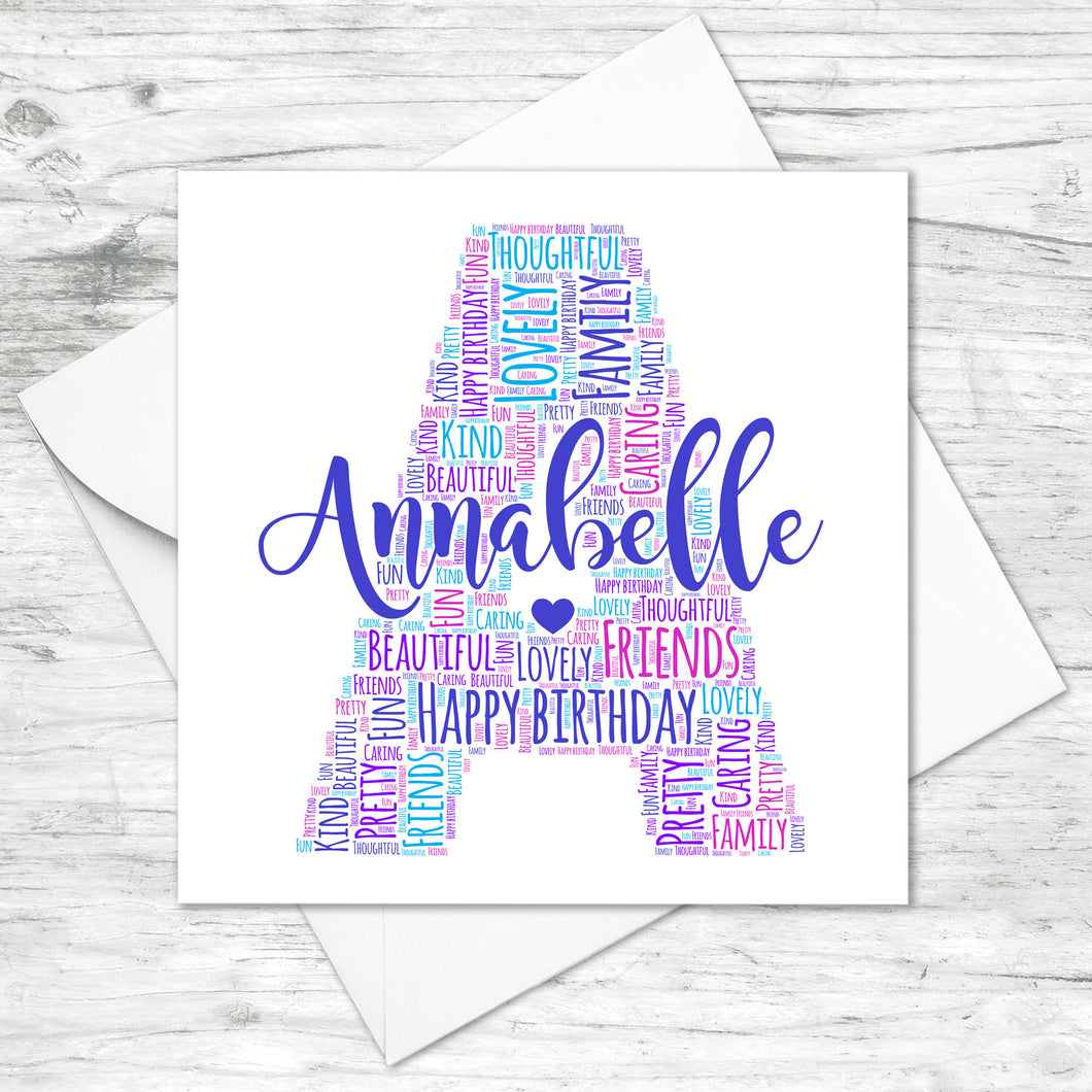 Personalised Letter Name Initial Word Art Card