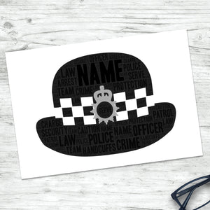 Personalised Police Officer Hat Print
