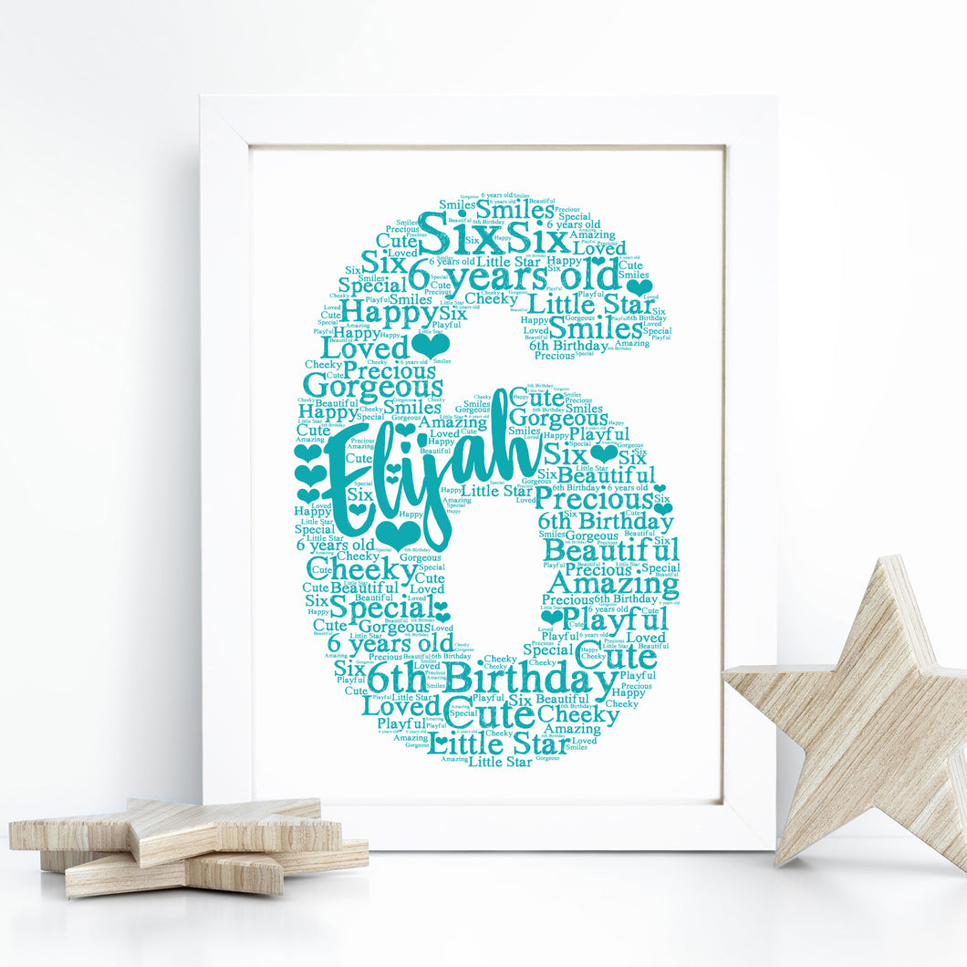 Personalised Christening Heart Word Art Card
