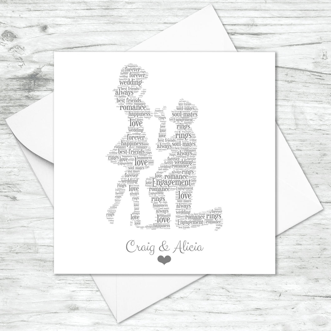Personalised Engagement Couple Word Art Card