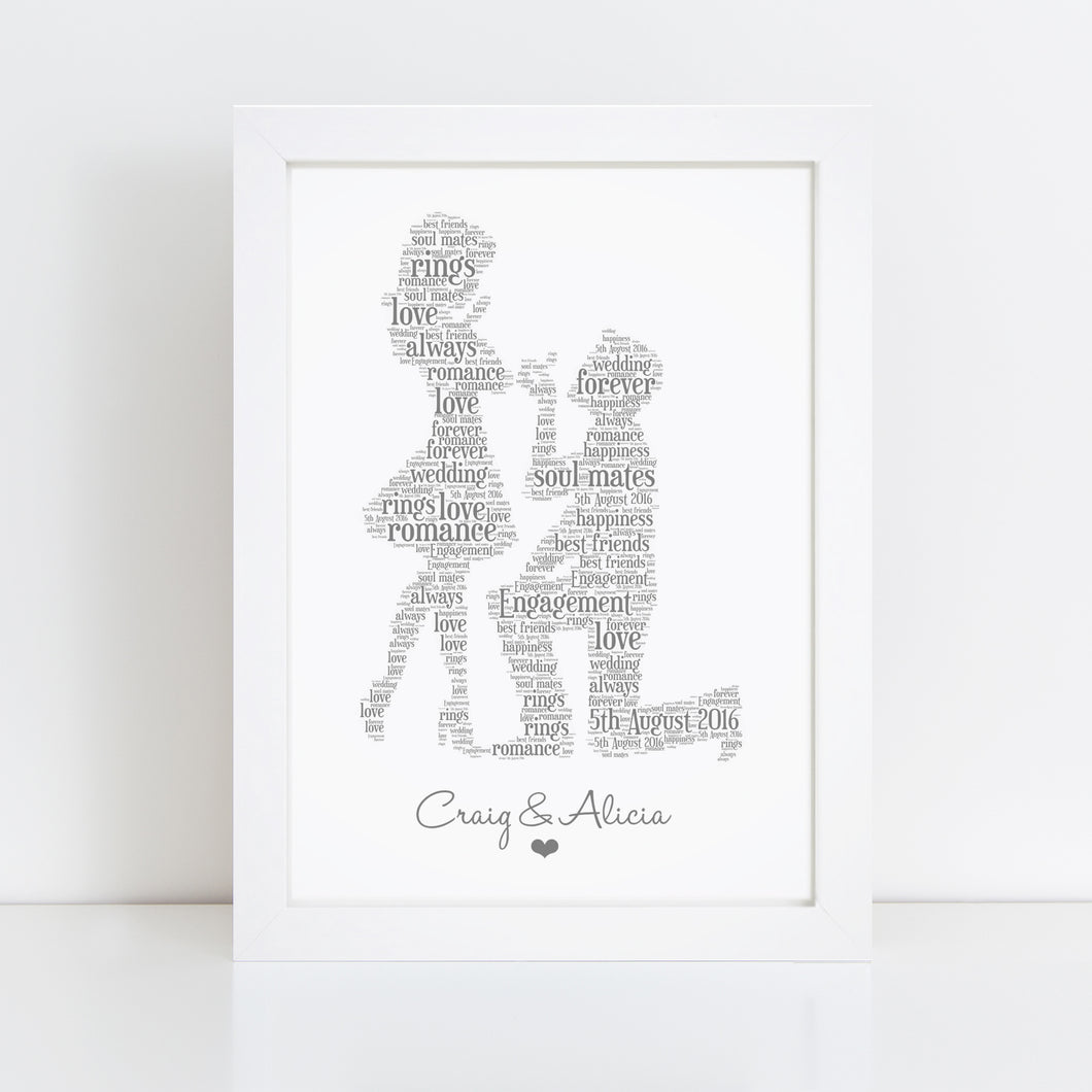 Personalised Engagement Couple Word Art Print