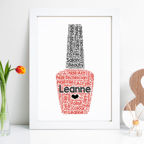 Personalised Nail Polish Word Art Print