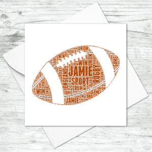 Personalised Rugby Ball Word Art Card