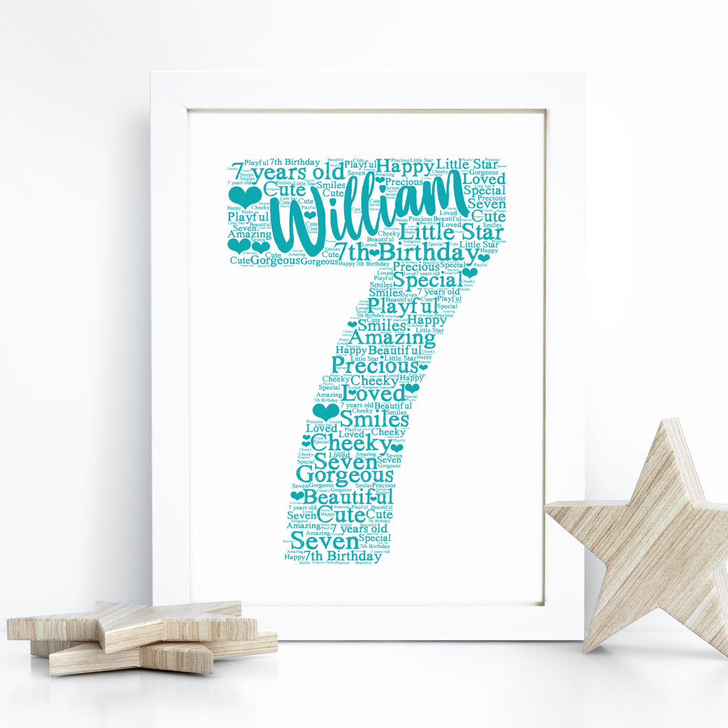 Personalised Baby Girl Boy Teddy Bear Word Art Print