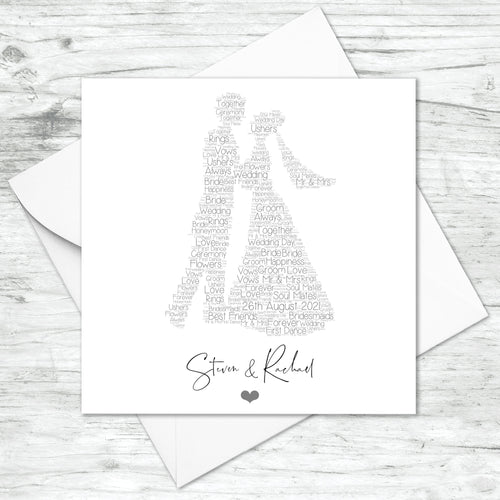 Personalised Wedding Couple Word Art Print