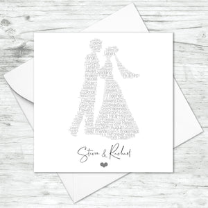 Personalised Wedding Couple Word Art Card