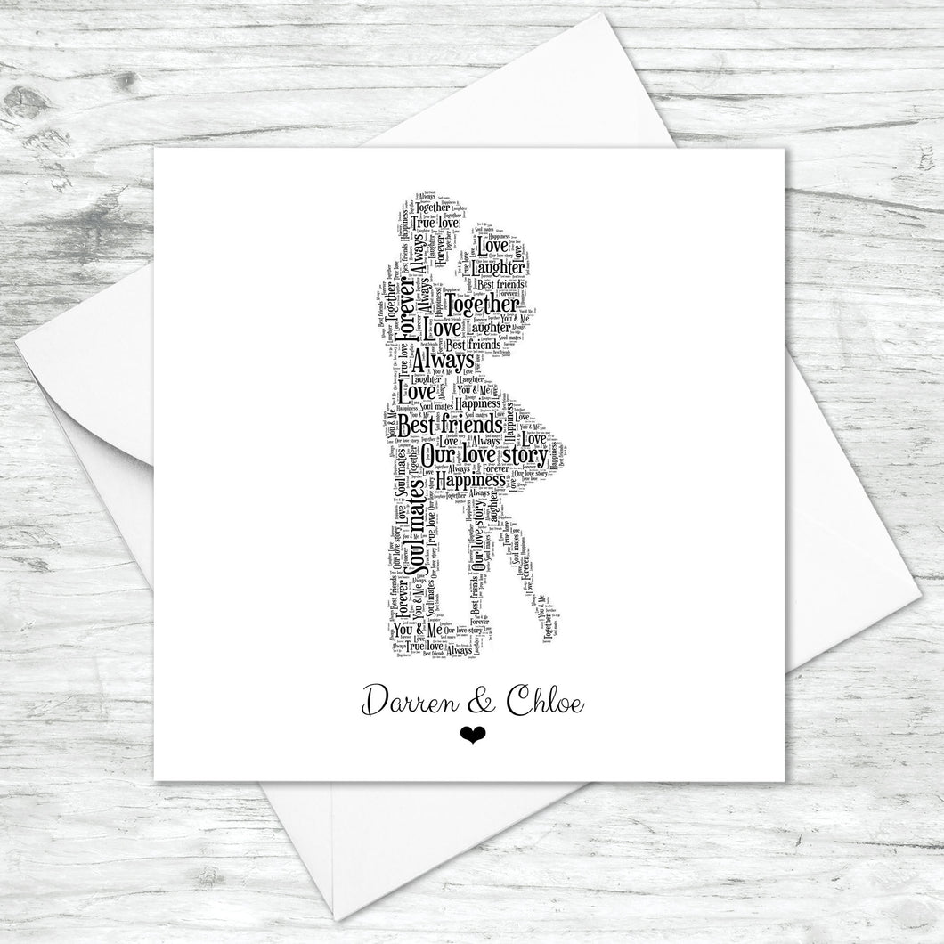 Personalised Couple Word Art Card