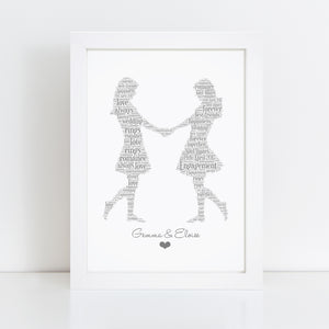 Personalised Same Sex Gay Couple Word Art Print