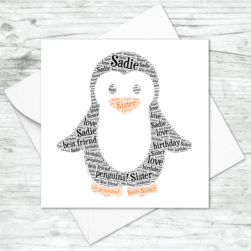 Personalised Penguin Word Art Card