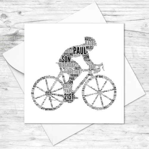 Personalised Male Cyclist Bike Word Art Card