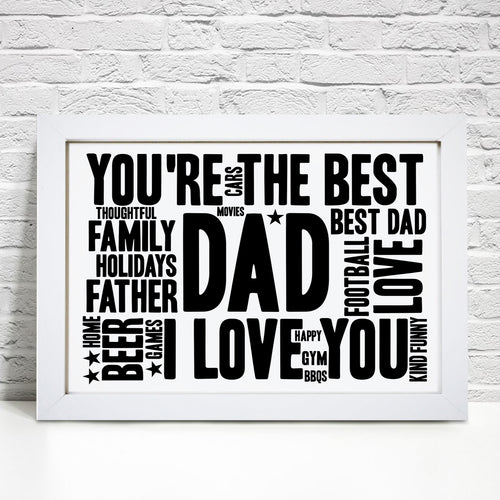 Personalised Father Birthday Word Art Print
