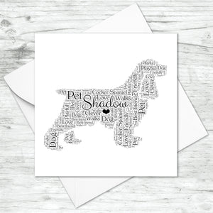 Personalised Cocker Spaniel Word Art Card
