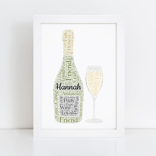 Personalised Prosecco Bottle Glass Word Art Print