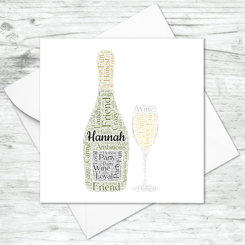 Personalised Prosecco Bottle Glass Word Art Card