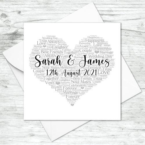 Personalised Wedding Anniversary Word Art Print