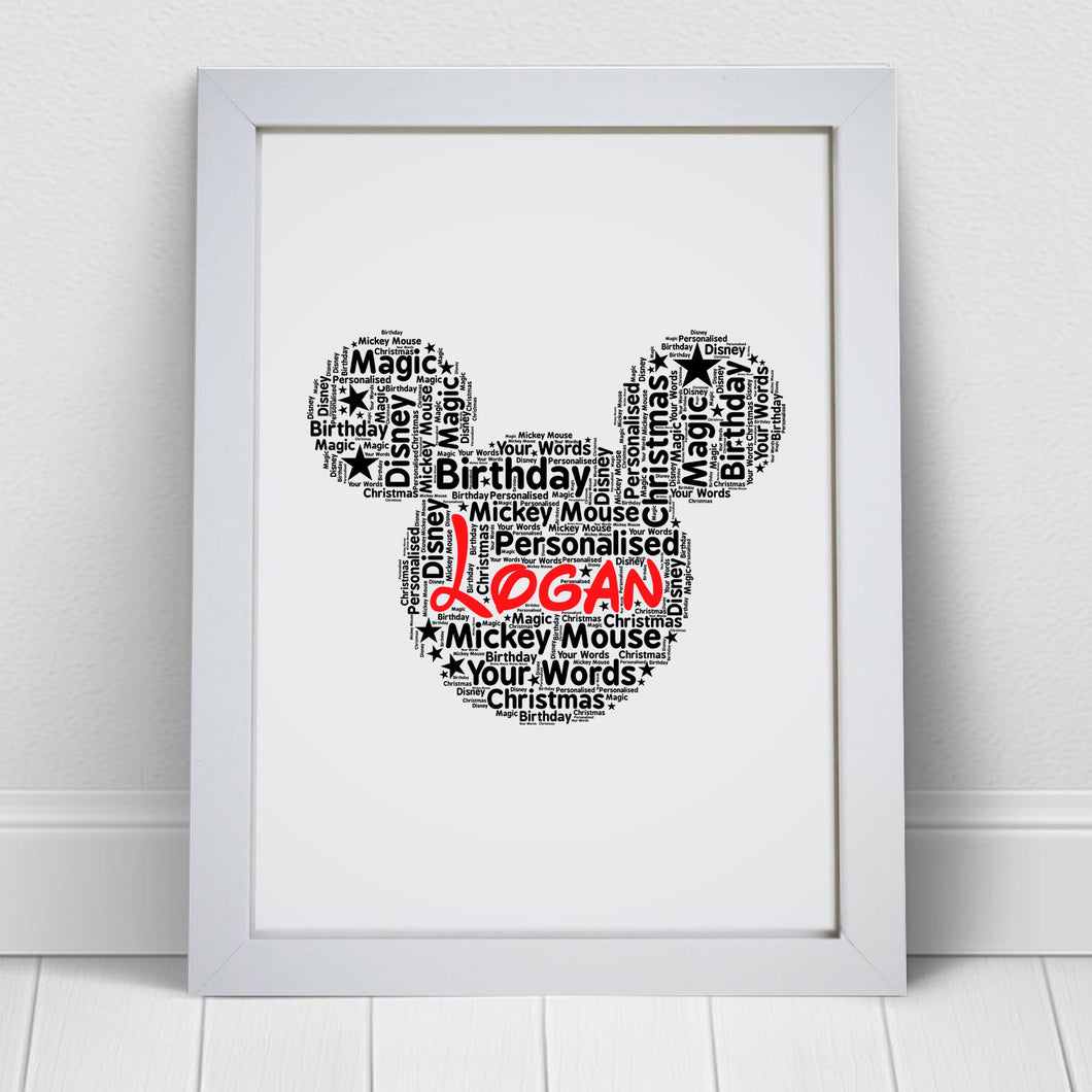 Personalised Mickey Mouse Word Art Print