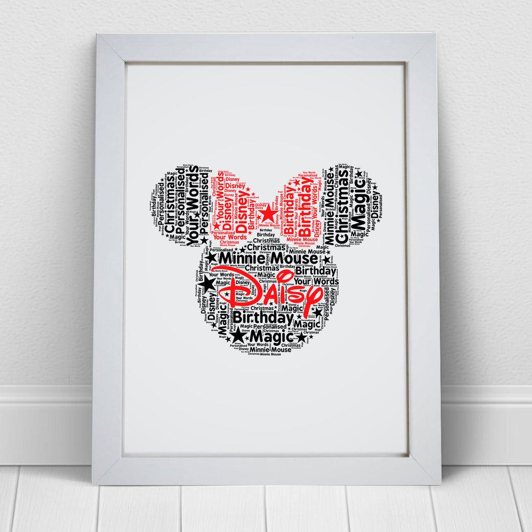 Personalised Minnie Mouse Word Art Print