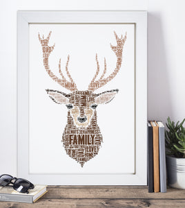 Personalised Stag Head Word Art Print