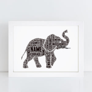 Personalised Elephant Word Art Print