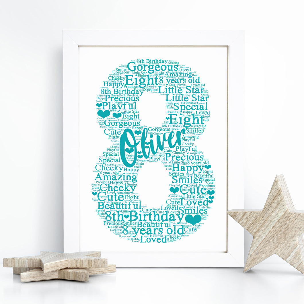 Personalised 8th Birthday Word Art Print