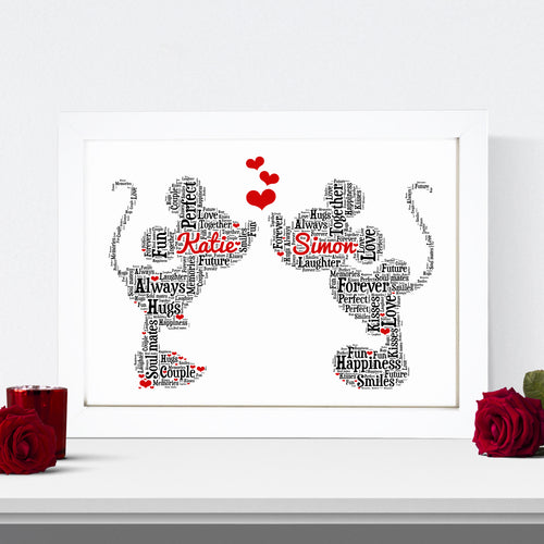 Personalised Minnie Mickey Anniversary Word Art Print
