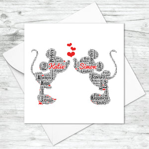 Personalised Minnie Mickey Anniversary Word Art Card